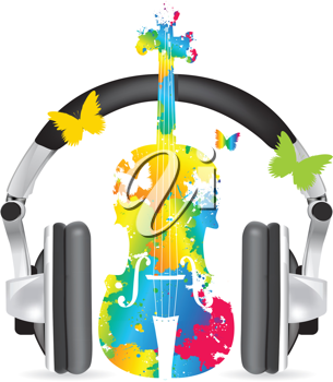 Royalty Free Clipart Image of Headphones on an Abstract Violin With Butterflies