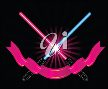 Royalty Free Clipart Image of Light Sabres and a Pennant