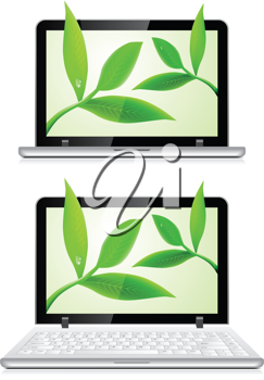 Royalty Free Clipart Image of Laptops With Leaves