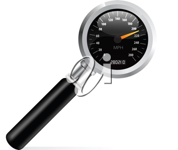 Royalty Free Clipart Image of a Speedometer Magnifying Glass