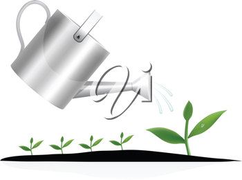 Royalty Free Clipart Image of a Watering Can and Plant