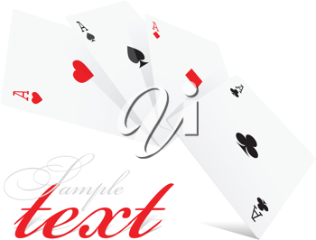 Royalty Free Clipart Image of Four Aces in Different Suits
