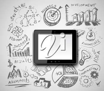 Creative tablet pc idea with business hand drawn symbols. Vector illustration