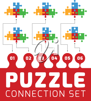Puzzle connection set. Vector illustration on white background