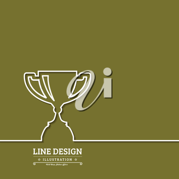 Winner award cup. Thin line web icons with outline . Vector illustration