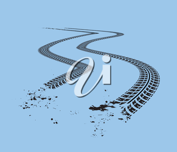 Tire tracks. Vector illustration on blue background