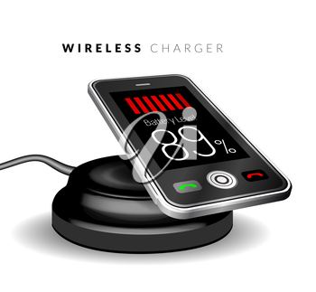 Smartphone on a wireless charge. Vector illustration
