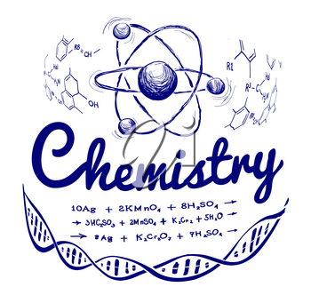 Hand drawn chemistry vector illustration on white background