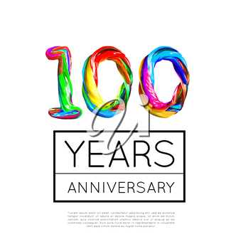 100th Anniversary, congratulation for company or person on white background. Vector illustration