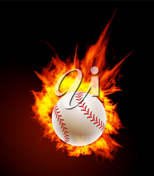 Baseball ball on fire background Vector illustration