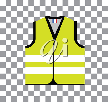 Yellow vest, as a symbol of protests in France against rising fuel prices. Yellow jacket revolution. Vector illustration on checkered transparency background
