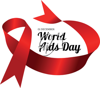 World Aids Day. Vector illustration with red ribbons on white background