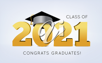 Graduation Class of 2021 with cap. 3d Vector illustration on light background