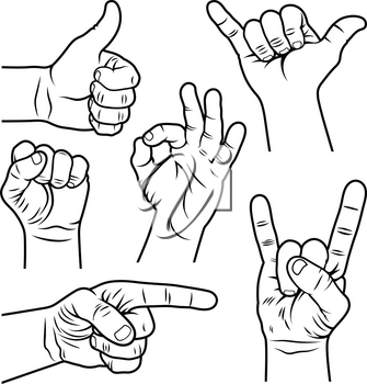 Hand gestures and signs. Hand drawn vector illustration