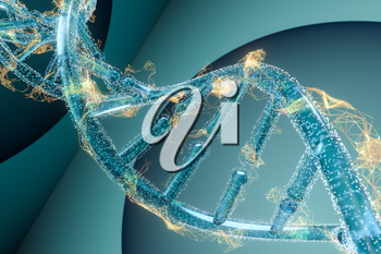 DNA and chromosomes,genes and inheritance,3d rendering. Computer digital drawing.