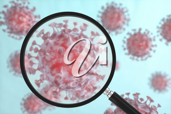 Coronavirus and microscope,medicine and science,abstract conception,3d rendering. Computer digital drawing.