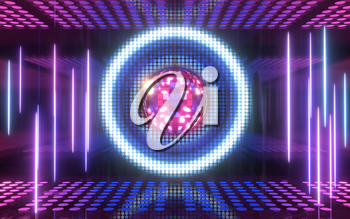 Shiny disco ball with neon light background, 3d rendering. Computer digital drawing.