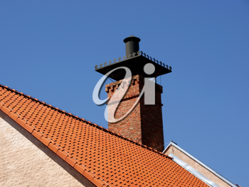 Royalty Free Photo of a Chimney and Roof