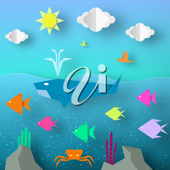Underwater Paper Word. Undersea Life with Cut Whale, Fishes, Crab, Coral, Clouds, Sun.  Over the Sea Flying Birds. Summer Landscape. Cutout Crafted Applique. Vector Illustrations Art Design.