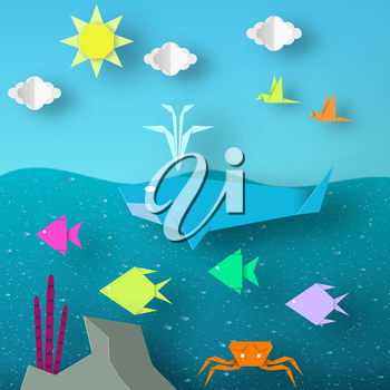 Underwater Paper Word. Undersea Life with Cut Whale, Fishes, Crab, Coral, Clouds, Sun.  Over the Sea Flying Birds. Summer Landscape. Cutout Handmade Applique. Vector Illustrations Art Design.