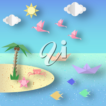 Summer Origami Sea Art Applique. Paper Crafted Cutout World. Composition with Style Elements and Symbols of Summertime. Decoration Template for Banner, Card, Logo, Poster. Design Vector Illustrations.