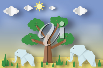 Paper Origami Concept, Applique Scene with Cut Elephants, Tree, Clouds, Sun. Childish Cutout Template with Elements, Symbols. Toy Landscape for Card, Poster. Vector Illustrations Art Design.