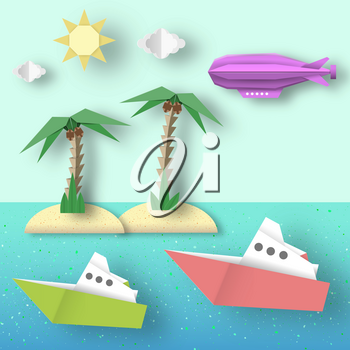 Paper Origami Airship Flies over the Sea and the Island. Cutout Trend. Cut Landscape. Kids Dirigible, Palm, Ship, Island, Clouds, Sun. Papercut Cute Style. Vector Graphics Illustrations Art Design.