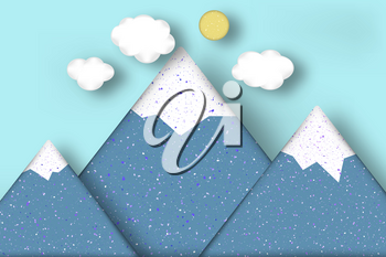Applique with Cut Mountains, Clouds, Sun Style Paper Origami Craft World. Cutout Template with Concept Elements, Symbols. Modeling Landscape for Banner, Card, Poster. Vector Illustrations Art Design.