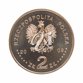 Polish 2 zloti coin isolated over white