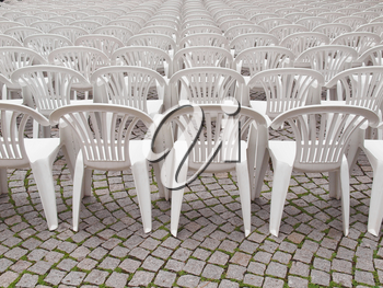 Rows of chairs for outdoor dehors alfresco bar and live gig concert open air events