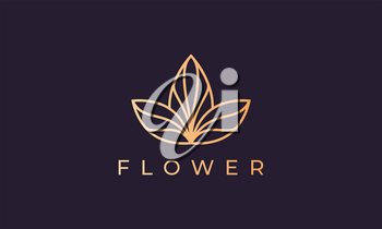 luxury flower logo in gold with simple line shape