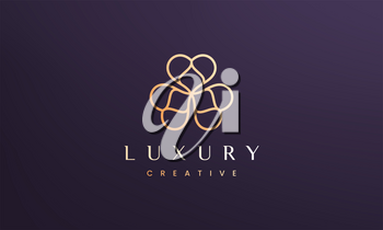 Luxury clover leaf logo concept with minimal and modern style