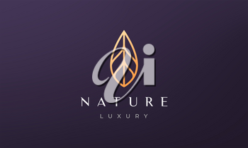 simple gold plant petal logo in luxury and modern style