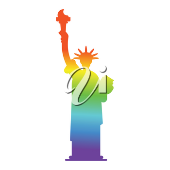 Statue of Liberty colors of LGBT flag. Landmark America in gay sign. USA Sculpture New York. American symbol of freedom