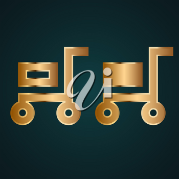 Filled and empty cart icon vector logo. Gradient gold metal with dark background