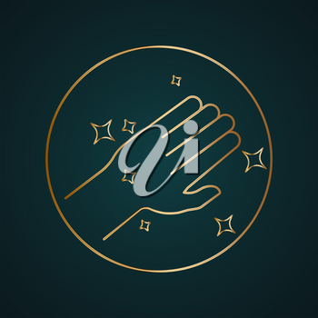 Clean hand vector icon. Gradient gold metal with dark background