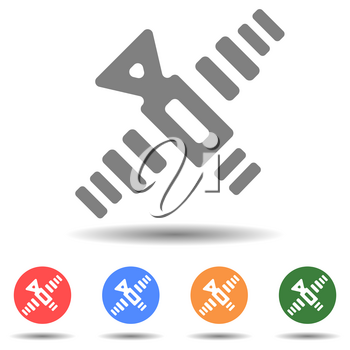 Artificial satellite vector icon isolated