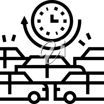 waiting time in traffic jam line icon vector. waiting time in traffic jam sign. isolated contour symbol black illustration