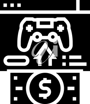 buying video game glyph icon vector. buying video game sign. isolated contour symbol black illustration