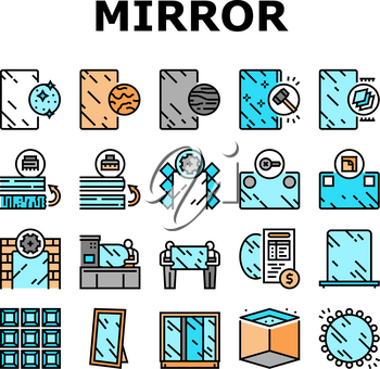 Mirror Installation Collection Icons Set Vector. Silver, Bronze or Graphite Mirror, Making For Wardrobe And Bathroom, Polishing And Making Custom Concept Linear Pictograms. Contour Color Illustrations