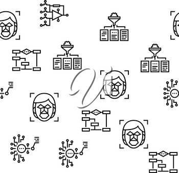 Neural Network And Ai Vector Seamless Pattern Thin Line Illustration
