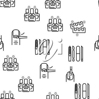 Manicure And Pedicure Vector Seamless Pattern Thin Line Illustration