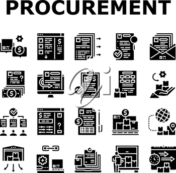 Procurement Process Collection Icons Set Vector. Procurement Warehouse And Contract, Purchase Requisition And Budget Approval Glyph Pictograms Black Illustrations