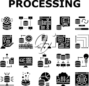 Digital Processing Collection Icons Set Vector. File Compression And Visualization, Download And Upload File Digital Processing Glyph Pictograms Black Illustrations