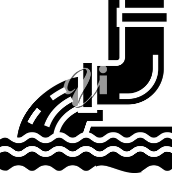 water flowing from drainage pipe glyph icon vector. water flowing from drainage pipe sign. isolated contour symbol black illustration