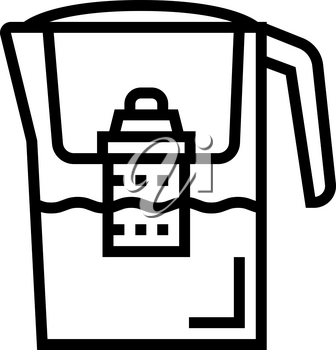 domestic filter water line icon vector. domestic filter water sign. isolated contour symbol black illustration