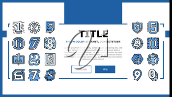 Numbers Numeral Title Landing Web Page Header Banner Template Vector. One Two Three Four Five Six Seven Eight Nine Zero Numbers Different Style, Numerical Illustration