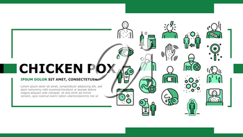 Chicken Pox Disease Landing Web Page Header Banner Template Vector. Ill Research And Medicaments Vaccine, Cough And Rash Chicken Pox Symptoms And Treatment Illustration