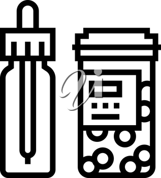 vitamin homeopathy package with pipette line icon vector. vitamin homeopathy package with pipette sign. isolated contour symbol black illustration