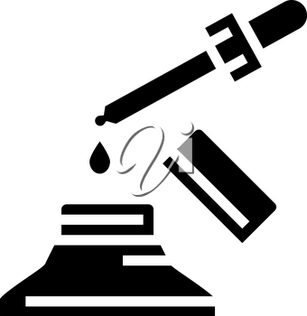 medicine homeopathy liquid dropping from pipette glyph icon vector. medicine homeopathy liquid dropping from pipette sign. isolated contour symbol black illustration